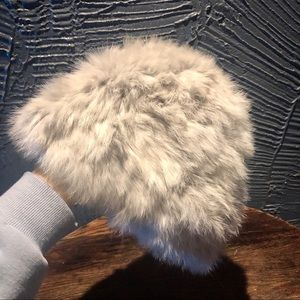Rabbit fur silver grey hat